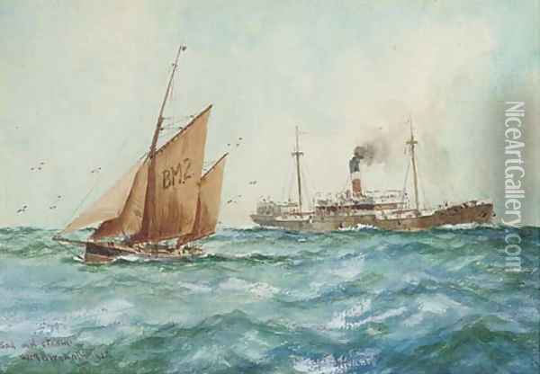 Sail and steam Oil Painting - William Minshall Birchall
