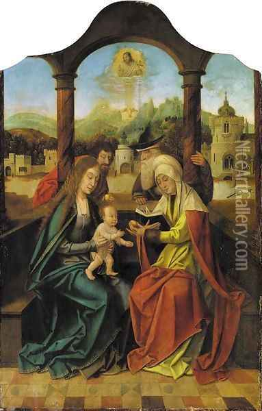The Holy Family with Saints Anna and Joachim Oil Painting - The Master Of The Holy Blood
