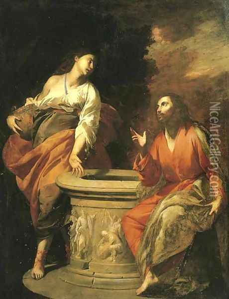Christ and the Woman of Samaria at the well Oil Painting - Antonio De Bellis
