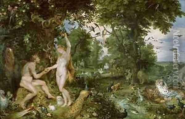 The Garden of Eden with the Fall of Man Oil Painting - Jan & Rubens, P.P. Brueghel