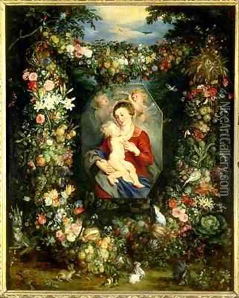 The Virgin and child in a garland of fruit and flowers Oil Painting - Jan & Rubens, P.P. Brueghel