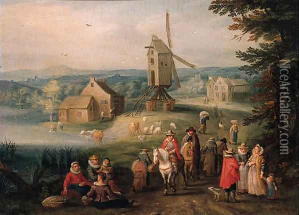 Travellers and peasants on a country road, a windmill beyond Oil Painting - Karel Beschey