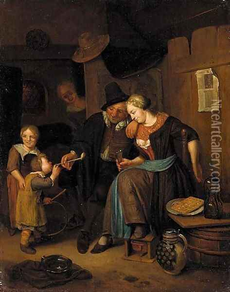 An interior scene with a couple and children Oil Painting - Richard Brakenburgh