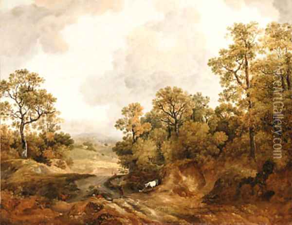 A wooded Landscape with Shepherds and Cows Oil Painting - Thomas Barker of Bath