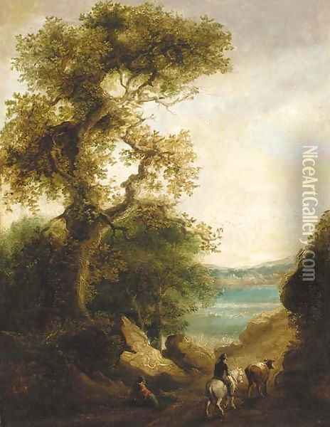 A drover on a wooded path with a lake beyond, a figure resting in the foreground Oil Painting - Thomas Barker of Bath