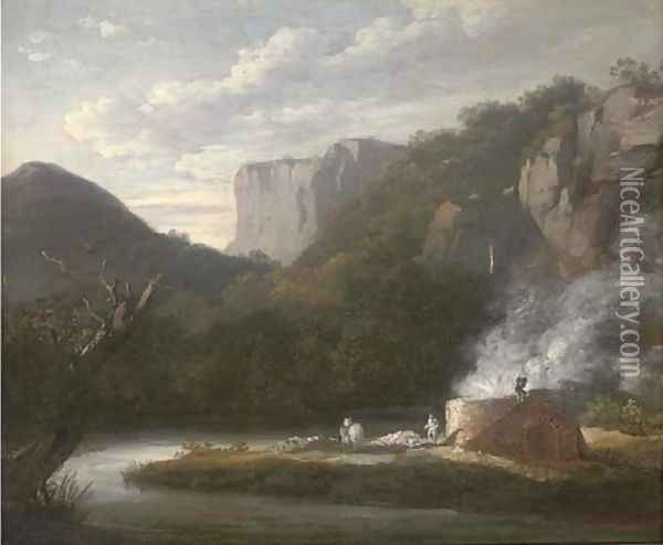 A lime kiln in a wooded river valley Oil Painting - Thomas Barker of Bath