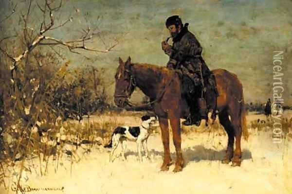 A horseman and his dog in a snowy landscape Oil Painting - George W Brennemann