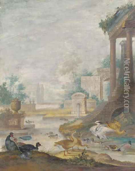 A classical landscape with wildfowl Oil Painting - Johannes Bronkhorst