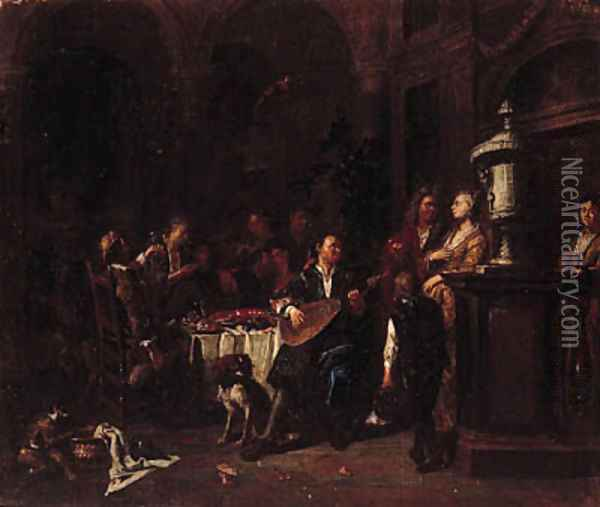 Elegant company making music and dining on a roof terrace Oil Painting - Maximilian Blommaerdt