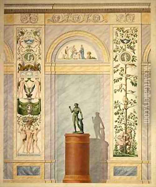 Drawing of the decoration for the rear wall of the Dining Hall of the Palace in Kassel Oil Painting - Johann Conrad Bromeis