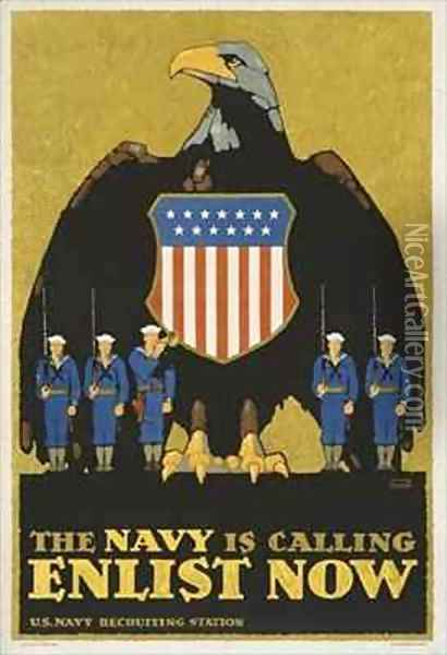 'The Navy Is Calling Enlist Now', Recruitment poster for the US Navy Oil Painting - L.N. Britton