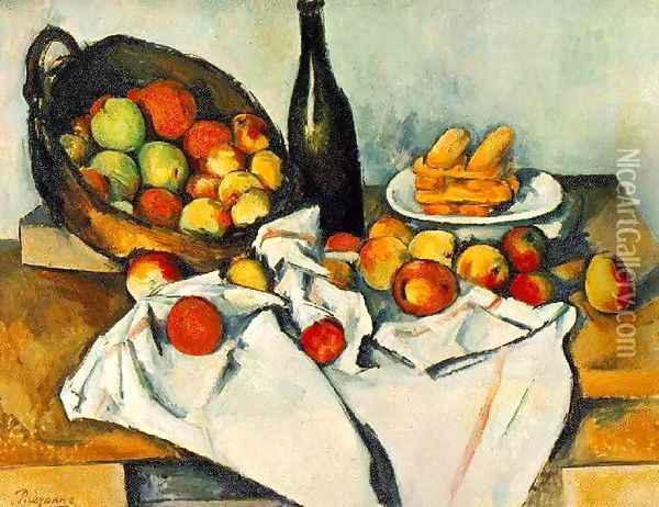 Still Life with Basket of Apples Oil Painting - Paul Cezanne