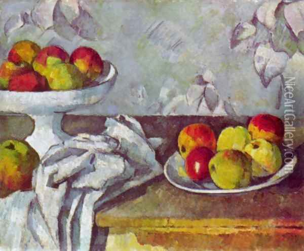Still life with apples and fruit bowl Oil Painting - Paul Cezanne
