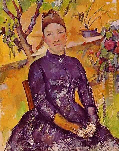 Madame Cezanne In The Conservatory Oil Painting - Paul Cezanne