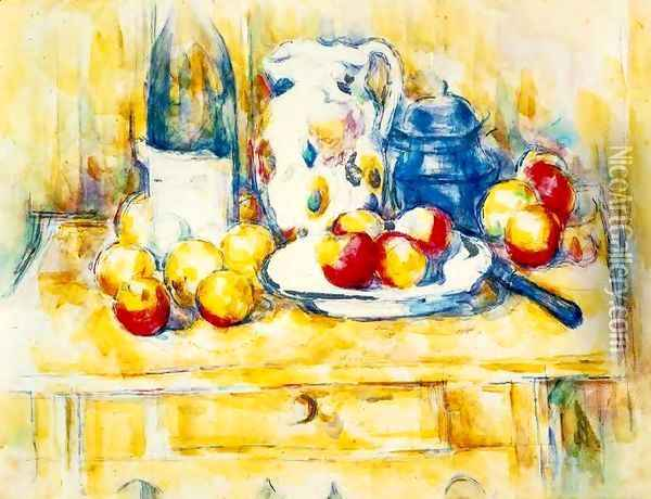 Still Life With Apples A Bottle And A Milk Pot Oil Painting - Paul Cezanne