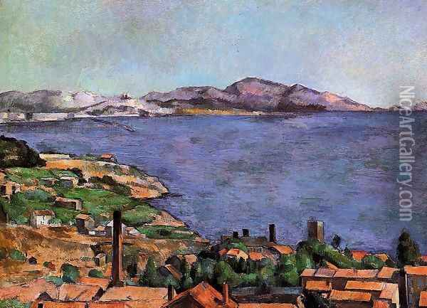 The Gulf Of Marseilles Seen From L Estaque Oil Painting - Paul Cezanne