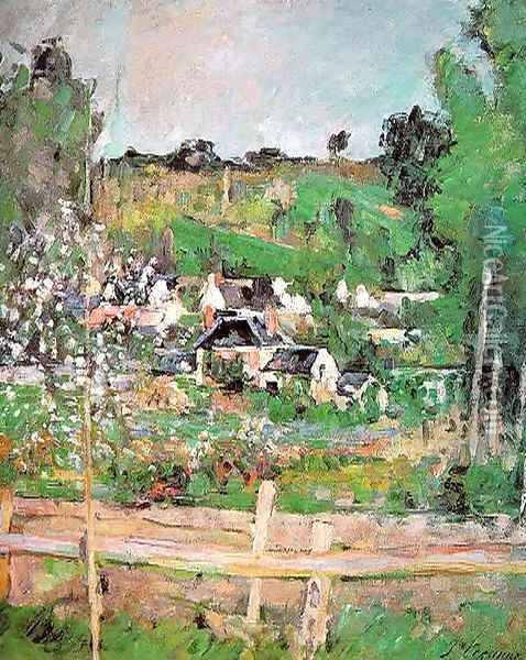 View Of Auvers Sur Oise Aka The Fence Oil Painting - Paul Cezanne
