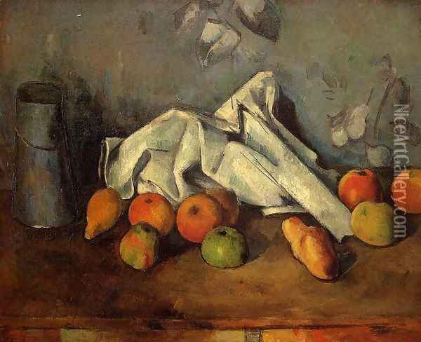 Still Life With Milk Can And Apples Oil Painting - Paul Cezanne