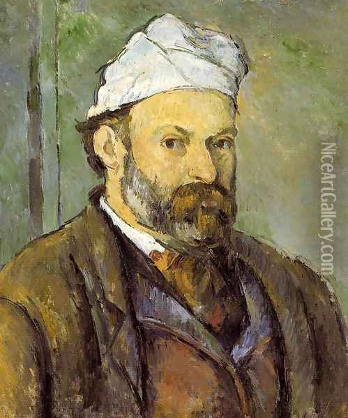 Self Portrait In A White Cap Oil Painting - Paul Cezanne