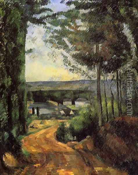 Road Trees And Lake Oil Painting - Paul Cezanne