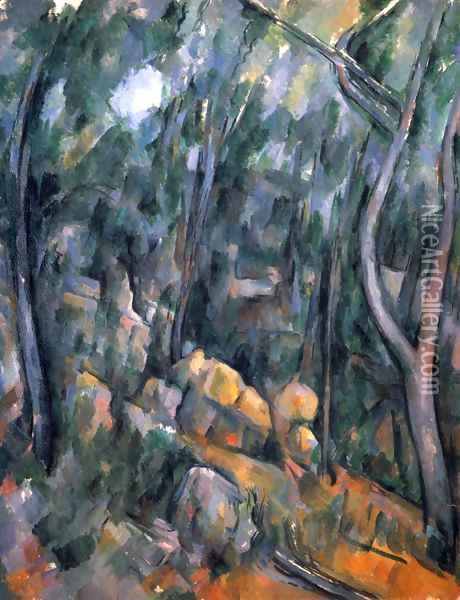 Forest with the rock caves above the Château Noir Oil Painting - Paul Cezanne