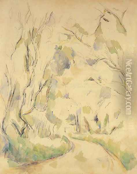 Well By The Winding Road In The Park Of Chateau Noir Oil Painting - Paul Cezanne