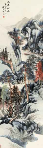 Mountains With Pine Oil Painting - Jin Cheng