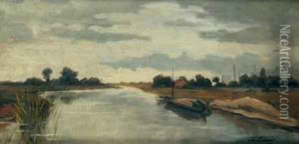 A Landscape With A River Oil Painting - Antonin Chittussi