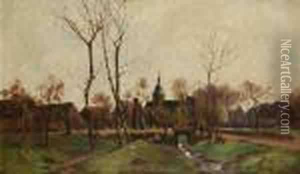 A View Of A Village With A Brook Oil Painting - Antonin Chittussi