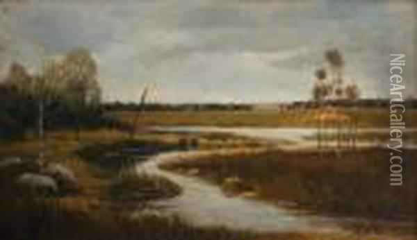 Stream On A Meadow Oil Painting - Antonin Chittussi