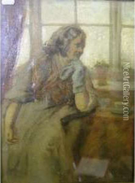 Impressionisticstudy Of An Elderly Lady Before A Window Oil Painting - James Elder Christie