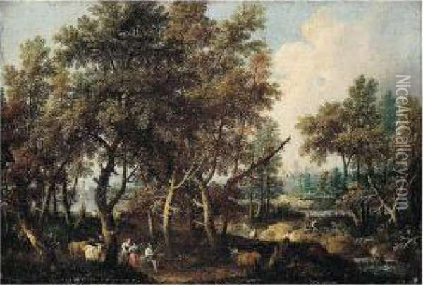 A Pastoral Landscape With Figures And Cattle Rested In A Wooded River Landscape Oil Painting - Gianbattista Cimaroli