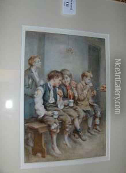 Three Young Boys On A Bench Oil Painting - Joseph Clark