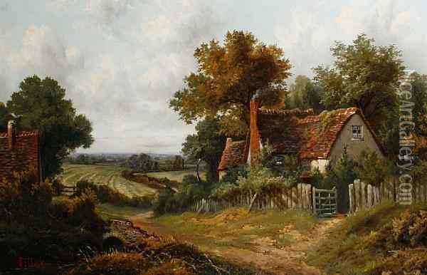 Landscape With Cottages And Fieldsbeyond Oil Painting - Octavius Thomas Clark