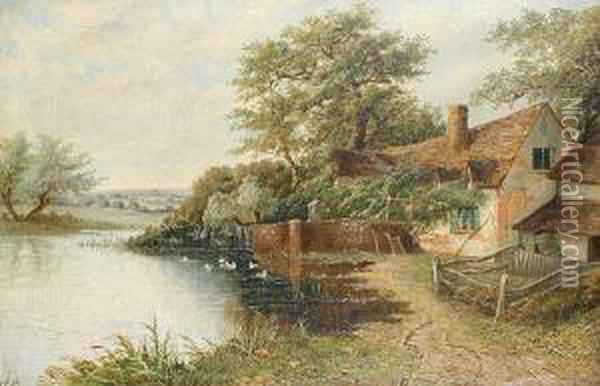 A Riverside Cottage Oil Painting - Octavius Thomas Clark