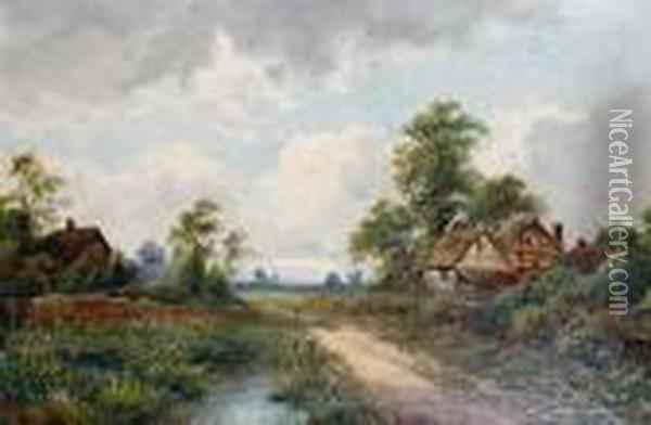 A Country Path Oil Painting - Octavius Thomas Clark