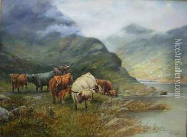 Highland Cattle By A Loch Oil Painting - Octavius Thomas Clark