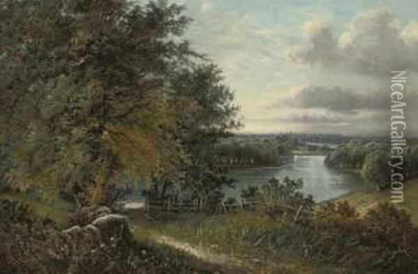 A Wooded River Landscape, A Town Beyond Oil Painting - Octavius Thomas Clark