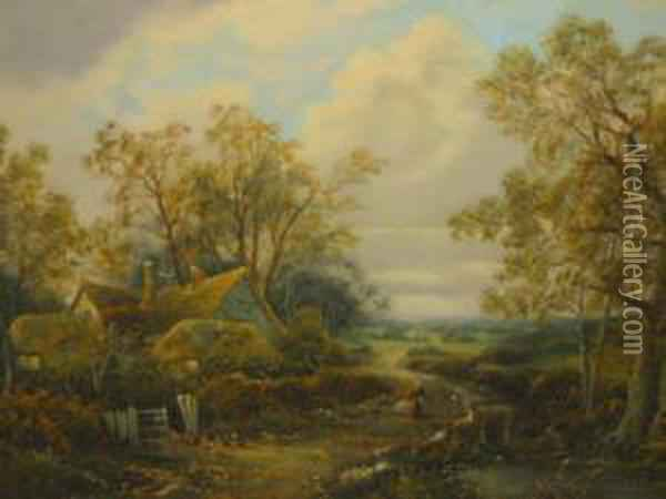 Rural Scenes With Cottages And Figures Oil Painting - Octavius Thomas Clark