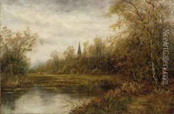 Cows At The River Bank Oil Painting - Octavius Thomas Clark