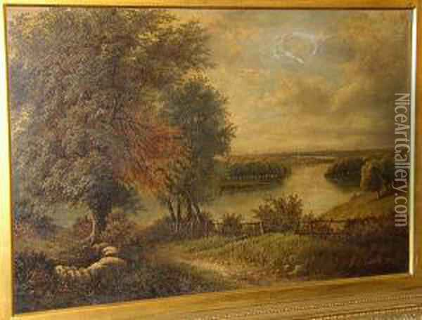 A Country Path Down To The River  With City Beyond, Signed And Dated 'o.t. Clark 84', Oil On Canvas Oil Painting - Octavius Thomas Clark