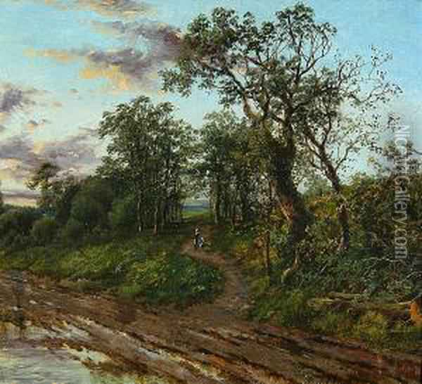 A Path Through The Trees Oil Painting - Octavius Thomas Clark