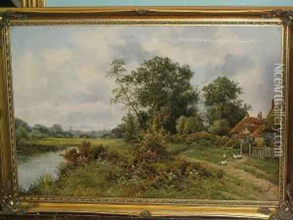 Wooded River Landscape With Girl  At A Cottage Gate; And Another, Wooded River Landscape With Ducks  Before A Cottage Oil Painting - Octavius Thomas Clark