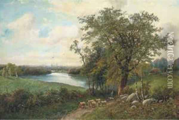 A Shepherd With His Flock On A Riverside Track Oil Painting - Octavius Thomas Clark
