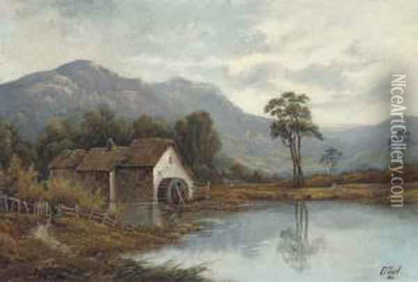 The Cottage; And The Watermill Oil Painting - Octavius Thomas Clark