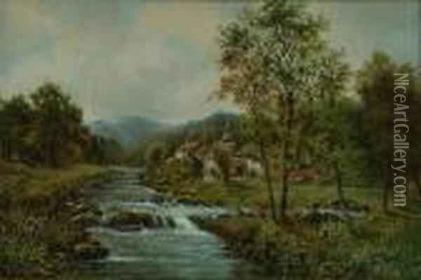 Cottages Beside An Upland River Oil Painting - Octavius Thomas Clark