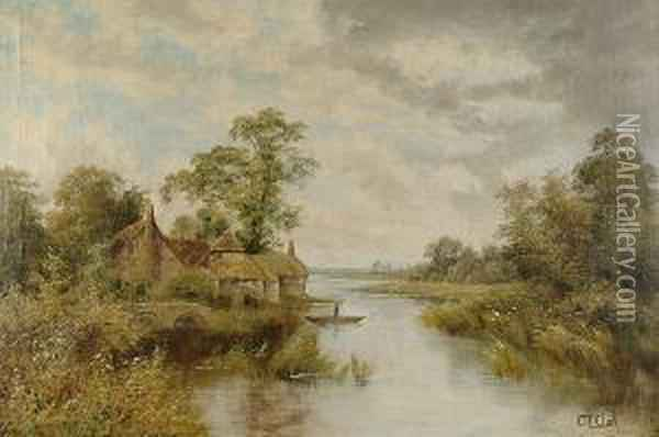 Country River Landscape With Timbered Cottages And Figure Punting Oil Painting - Octavius Thomas Clark