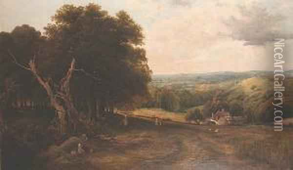 Figures Working In A Field In An Extensive Landscape Oil Painting - Octavius Thomas Clark