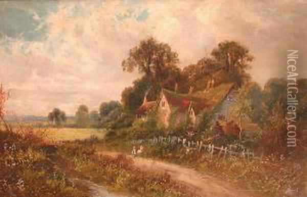 Country Landscape With House And Children On Lane Oil Painting - Octavius Thomas Clark
