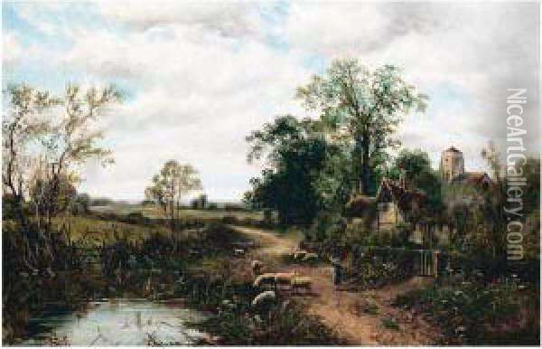 Sheep By A Cottage Oil Painting - Octavius Thomas Clark